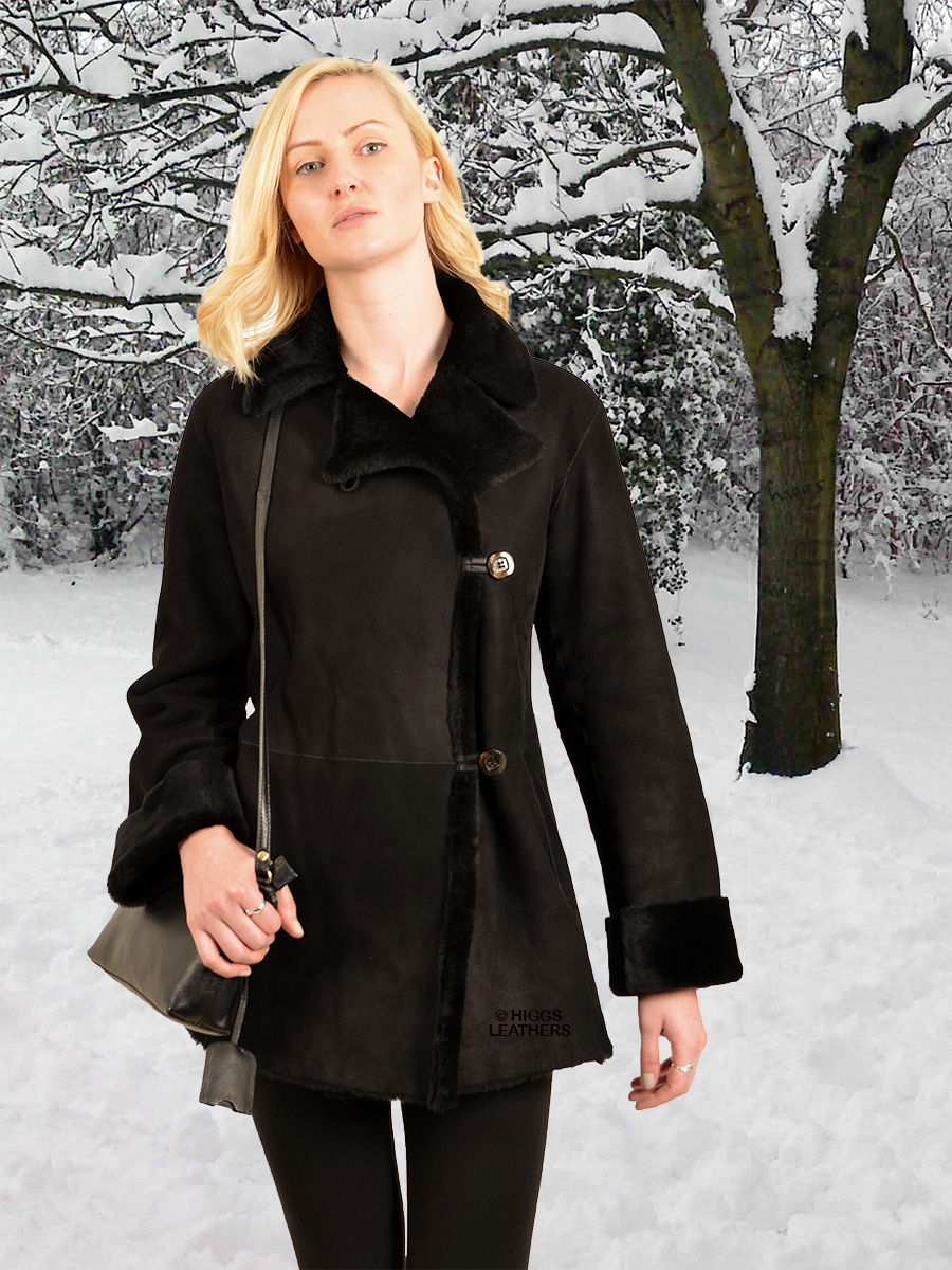 Higgs Leathers {NEW PICTURE!}  Juliet (ladies black Merino Lambskin jackets)